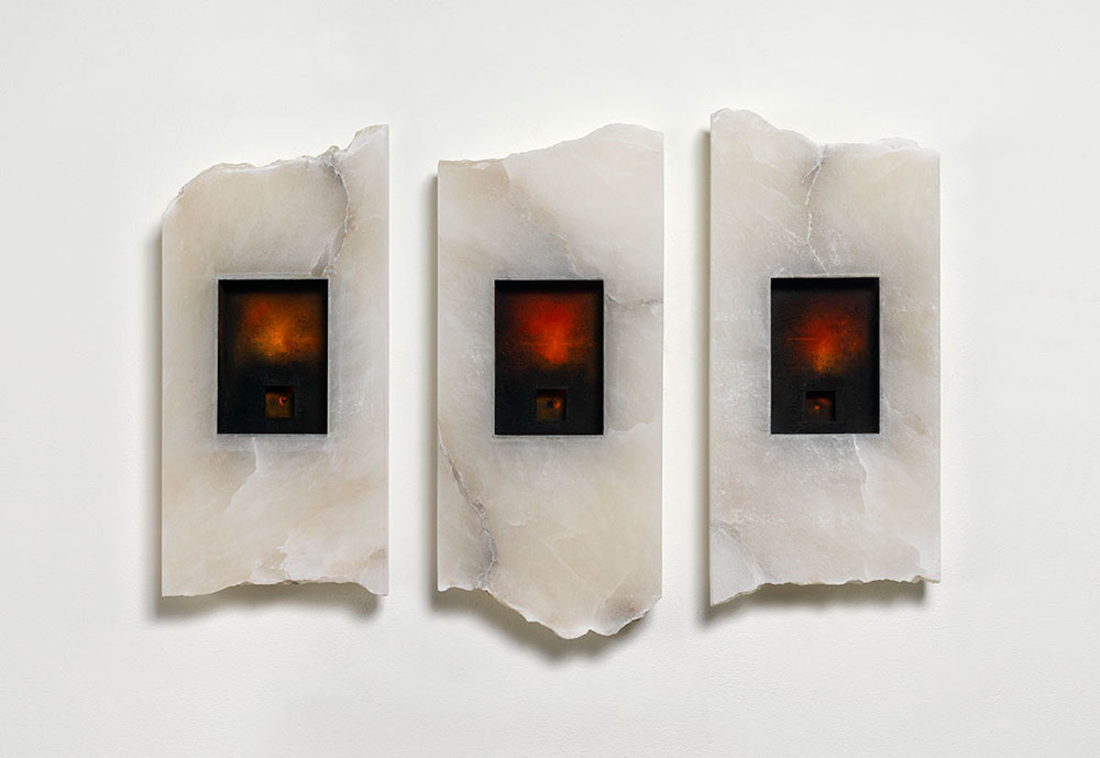 Three-Ages-of-Man,-48-x-22-x-5cm-each,-Alabaster,-pigment,-chalk-lines-and-glass